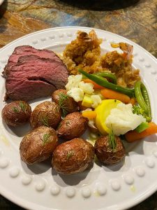 Surf and Turf with mixed veg shrimp beef tenderloin red potato
